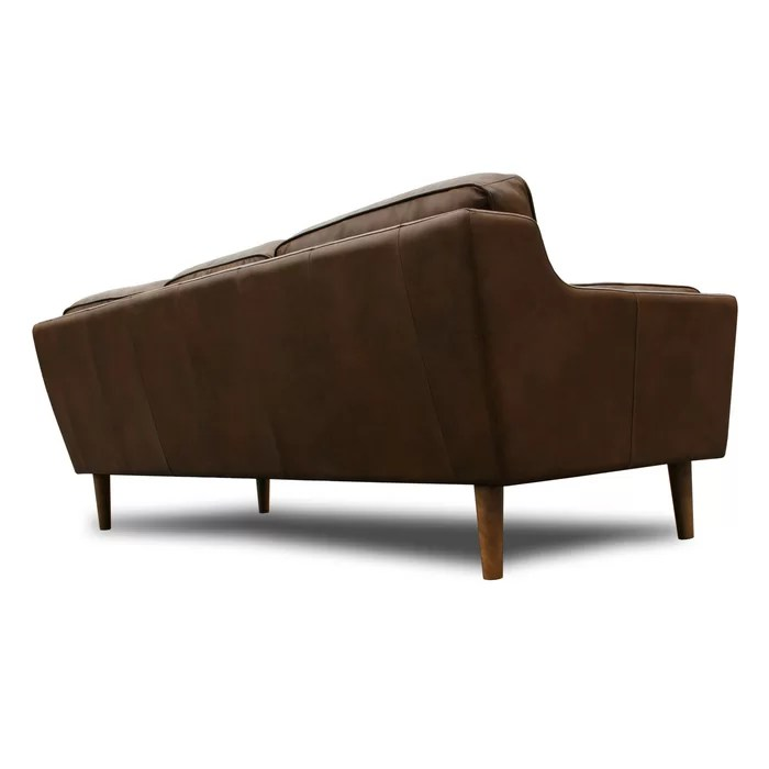 modern brown leather sofa distressed wood table union rustic kaufman mid century reviews