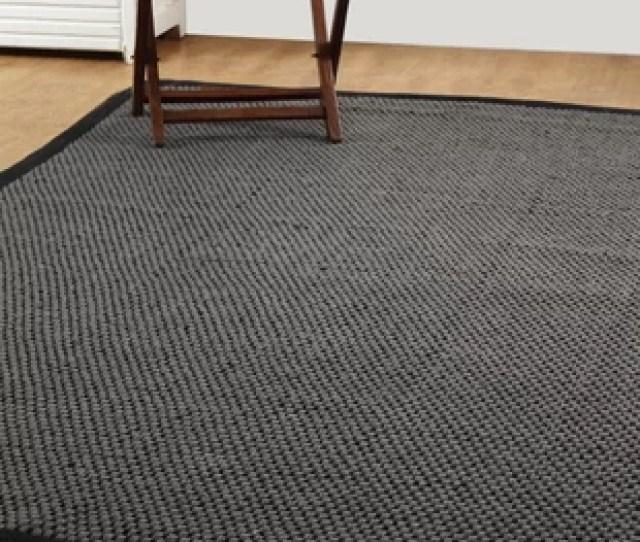 Natural Fiber Basket Weave Sisal Hand Woven Gray Black Area Rug