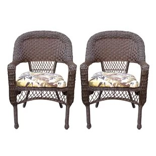 resin patio lounge chairs white kitchen target wicker wayfair belwood dining with floral cushion set of 2