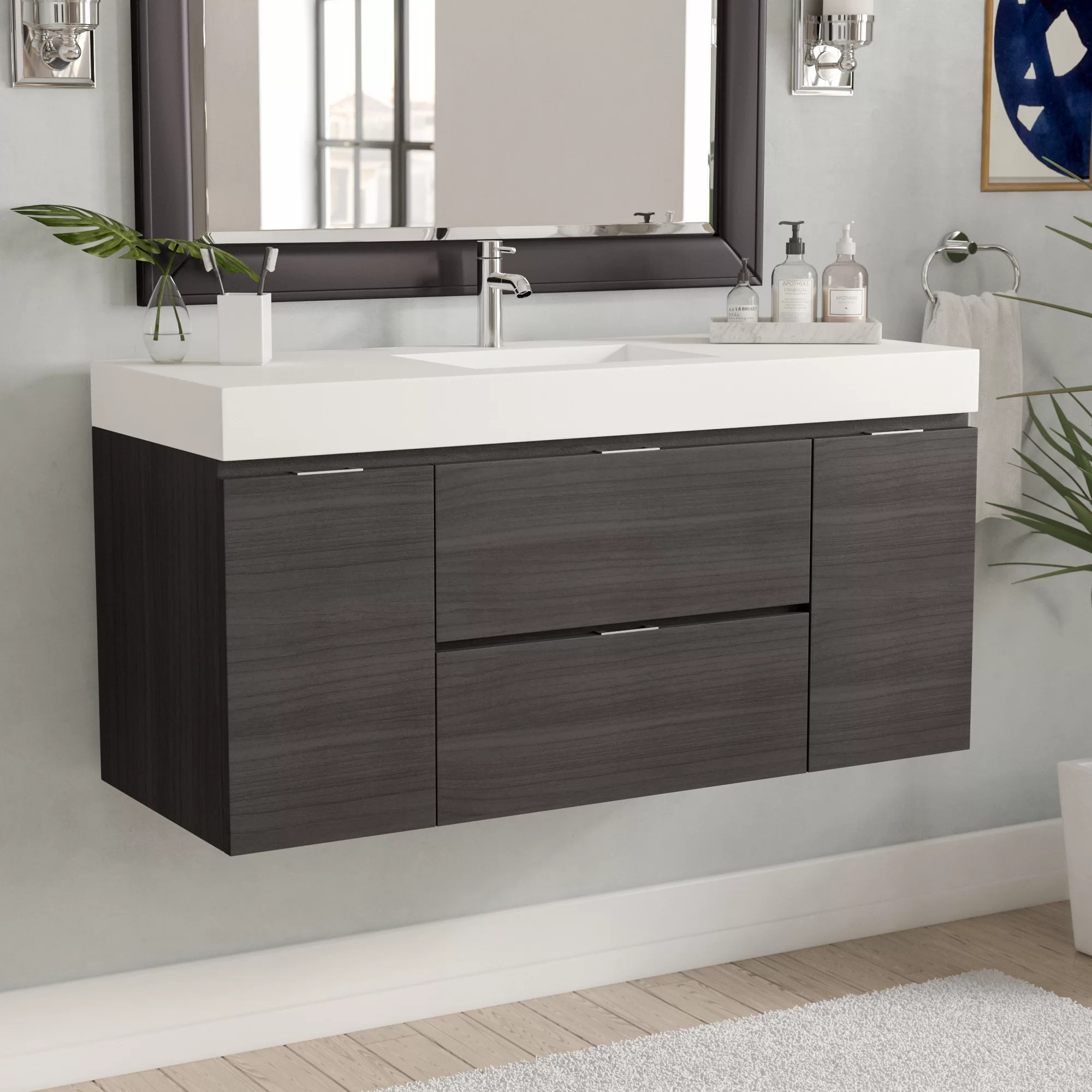 Vanities Bathroom Tenafly 48 Single Wall Mount Modern Bathroom Vanity Set