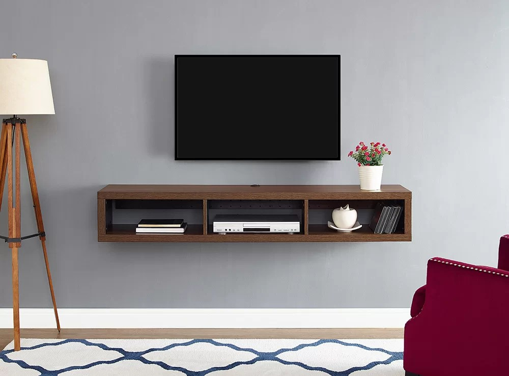 "60"" Shallow Wall Mounted TV Component Shelf & Reviews"