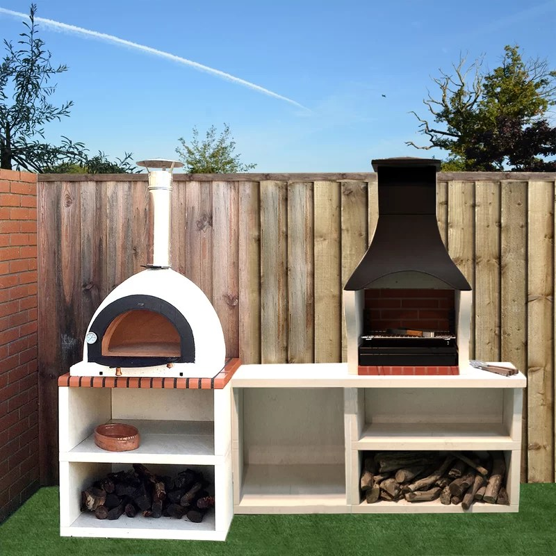 outdoor kitchen oven high end cabinets wildon home napoli combo bbq and wood fired pizza