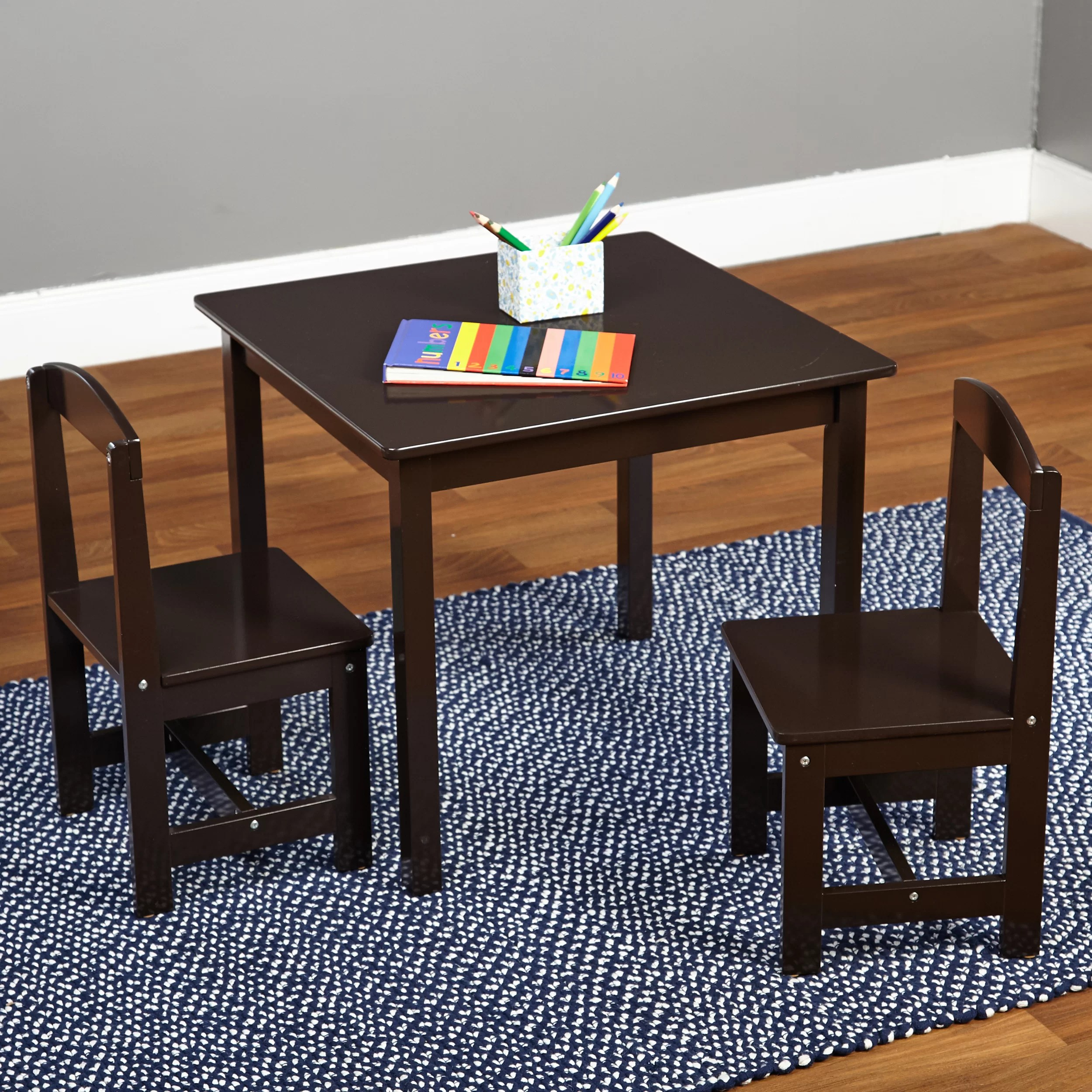 Kid Table And Chair Hayden Kids 3 Piece Square Table Chair Set