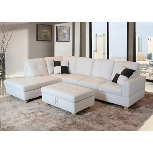 white leather sectional sofa with ottoman cinnamon colour sectionals you ll love wayfair quickview
