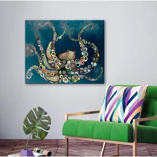 modern living room canvas art chair design for wall allmodern octopus in the navy blue sea framed on