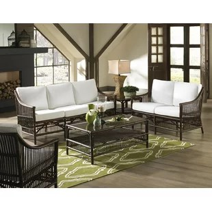 wicker living room sets wall color ideas for with brown couch coastal you ll love wayfair bora 5 piece conservatory set