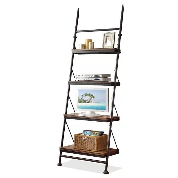 leaning bookcases ladder shelves