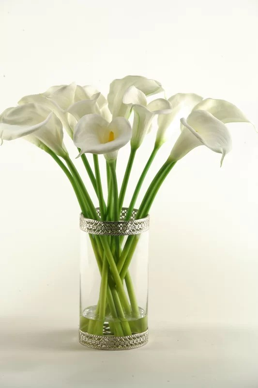 D  W Silks Calla Lilies in Glass Cylinder Vase  Reviews