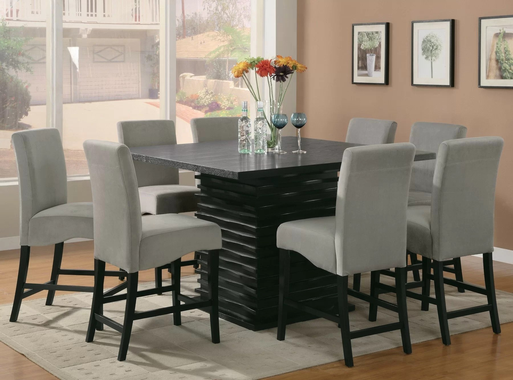 Black Dining Room Table And Chairs Annapolis 9 Piece Counter Height Dining Set