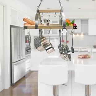 pot racks for kitchen backsplash options lighted hanging you ll love wayfair 2 light wood rack