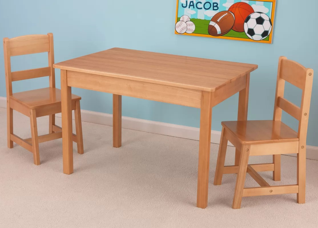 Kids Wooden Table And Chairs Kidkraft Kids 3 Piece Wood Table And Chair Set And Reviews