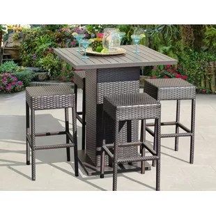bar height table and chairs outdoor jysk patio chair covers cover wayfair napa 5 piece dining set