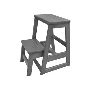 wooden step stool chair vintage wishbone you ll love wayfair levi folding 2 wood with 200 lb load capacity