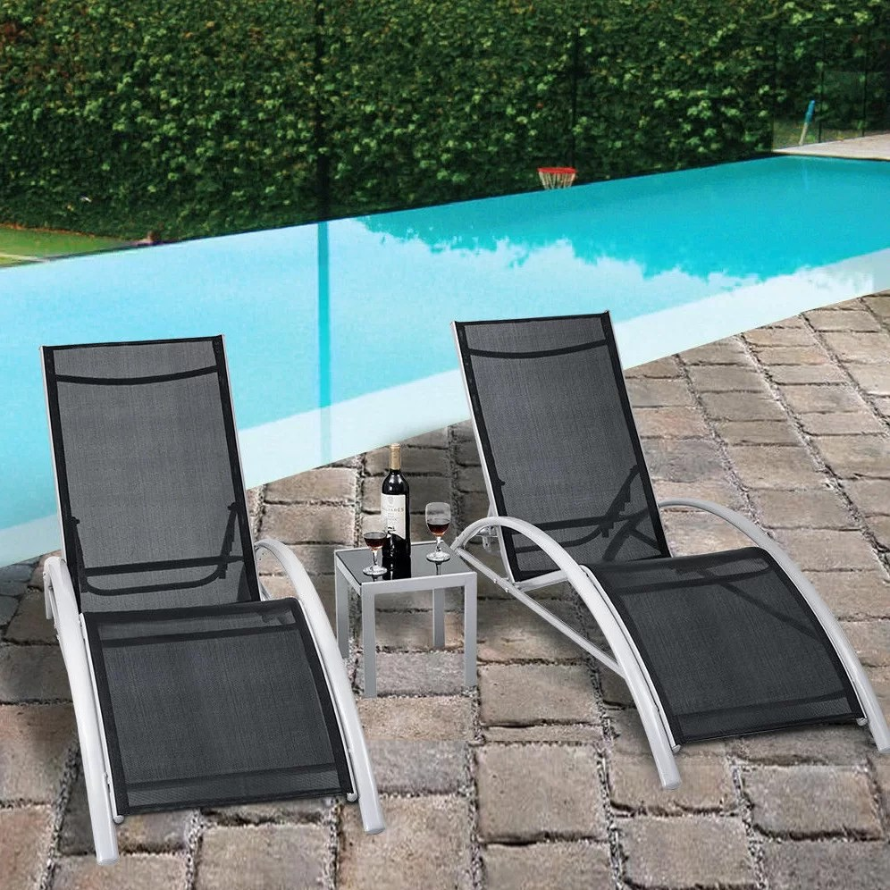 Pool Lounge Chair Jose 3 Piece Outdoor Patio Pool Lounger Reclining Chaise Lounge Set