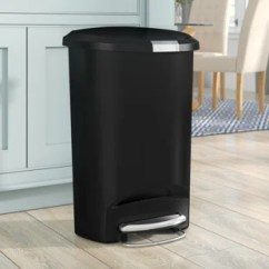13 Gallon Kitchen Trash Can Cabinet Crown Molding Cans You Ll Love Wayfair Semi Round Step Plastic