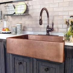 Copper Sink Kitchen Shaker Cabinet Doors Sinkology Adam 33 L X 22 W Farmhouse Apron Reviews K1a 1004nd