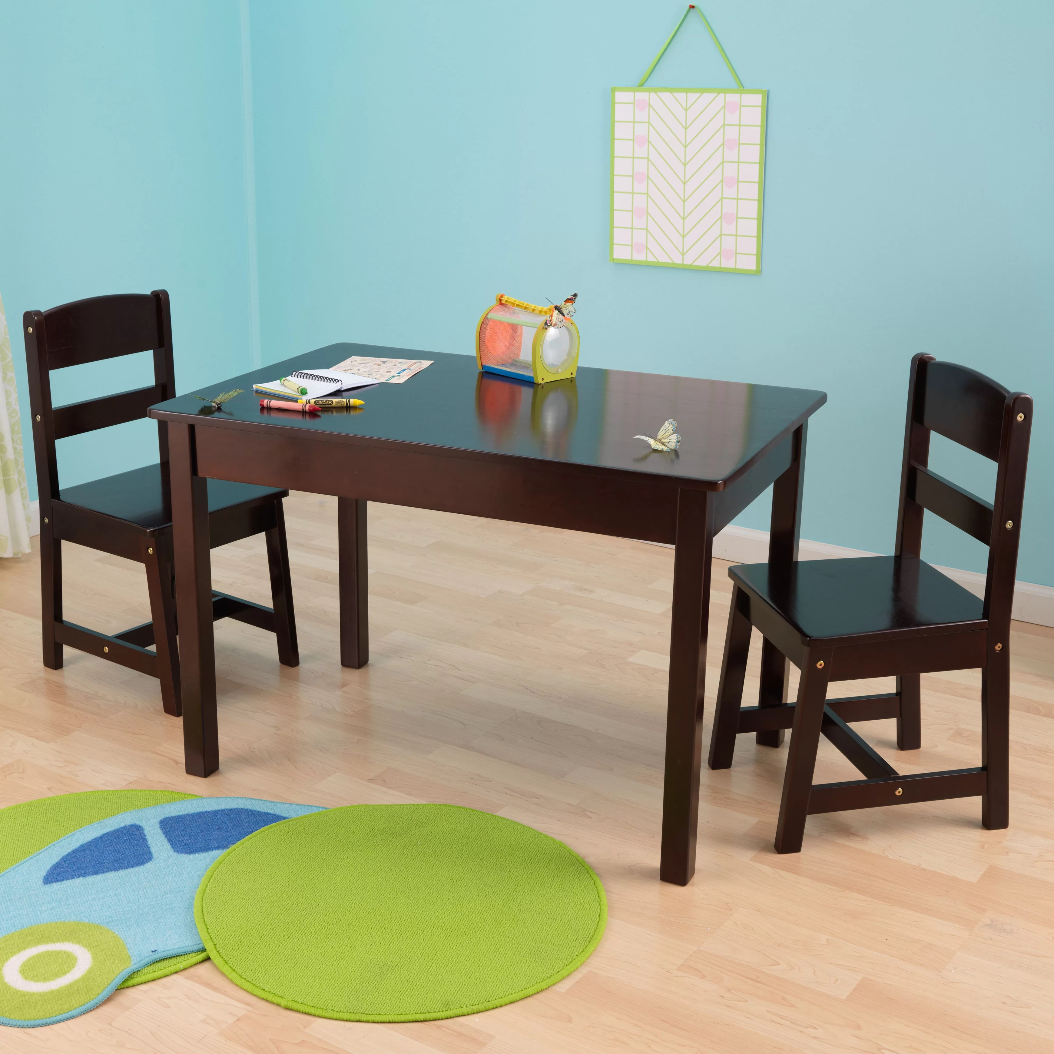 Kids Wood Table And Chairs Kids 3 Piece Wood Table Chair Set