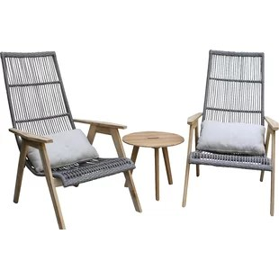 woven outdoor chair graco high blossom cover modern lounge chairs allmodern largent teak patio with cushions set of 2