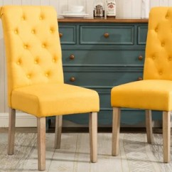 Yellow Upholstered Dining Room Chairs Hans Wegner Lounge Chair Replica Kitchen You Ll Love Wayfair Quickview