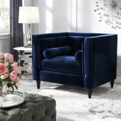 Blue Chair Living Room Small Paint Ideas Navy Tufted Wayfair Quickview