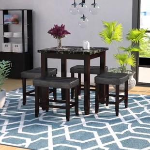 tall kitchen tables rooster accessories table and chairs wayfair dehaven 5 piece counter height dining set