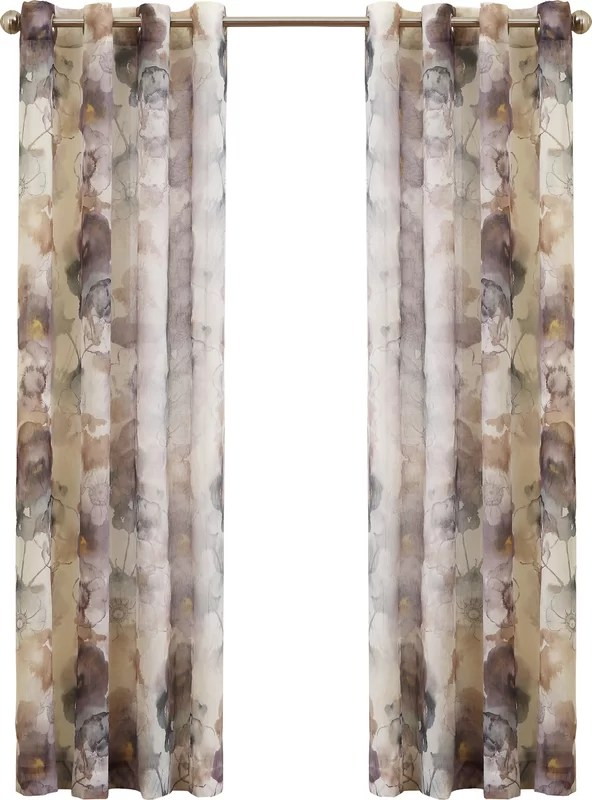 No 918 Andorra Watercolor Nature Floral Sheer Grommet Single Curtain Panel Amp Reviews Wayfair