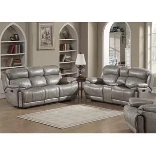 grey leather living room set color for walls sets you ll love wayfair kunkel reclining 2 piece