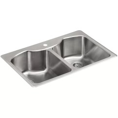 Ss Kitchen Sinks Ikea Buffet Kohler Octave 33 L X 22 W 9 5 16 Top Mount Double Equal