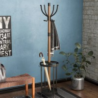 17 Stories Andreas Wood and Metal Coat Rack with Umbrella ...