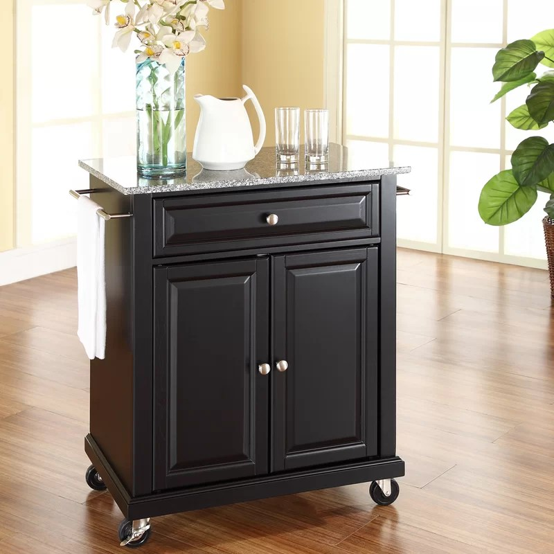 portable kitchen cart renovation darby home co sisto with granite top reviews