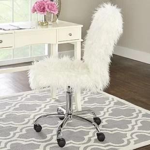 fluffy desk chair handmade rocking chairs girls fur wayfair boughton task