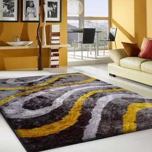 yellow and gray rug for living room leather couches decor mustard wayfair hand tufted area