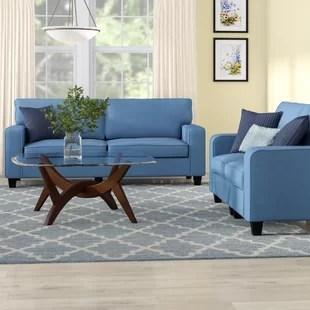 blue furniture living room nice colour decor wayfair quickview