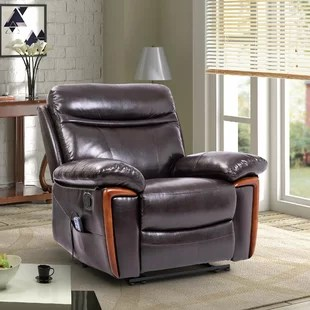 leather recliner chairs hanging chair outdoor rattan real wayfair faux reclining massage