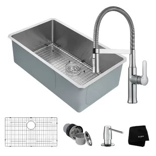 kitchen soap caddy gadgets store modern contemporary allmodern handmade series 32 x 19 undermount sink with faucet and dispenser