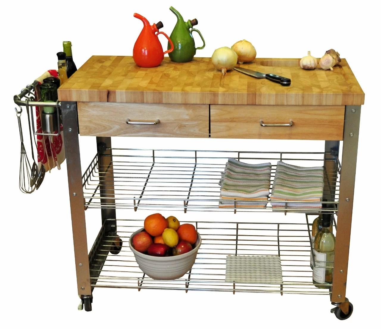 wooden kitchen cart ninja mega system bl770 reviews thielsen with wood top joss main