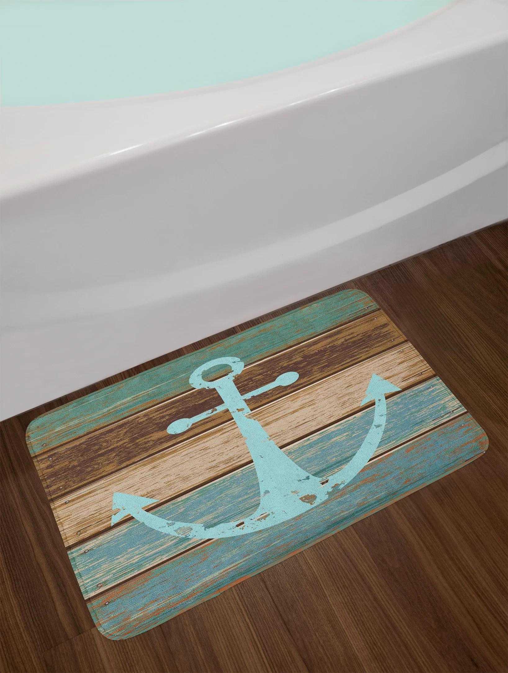 Ambesonne Anchor Bath Mat Timeworn Marine Symbol On