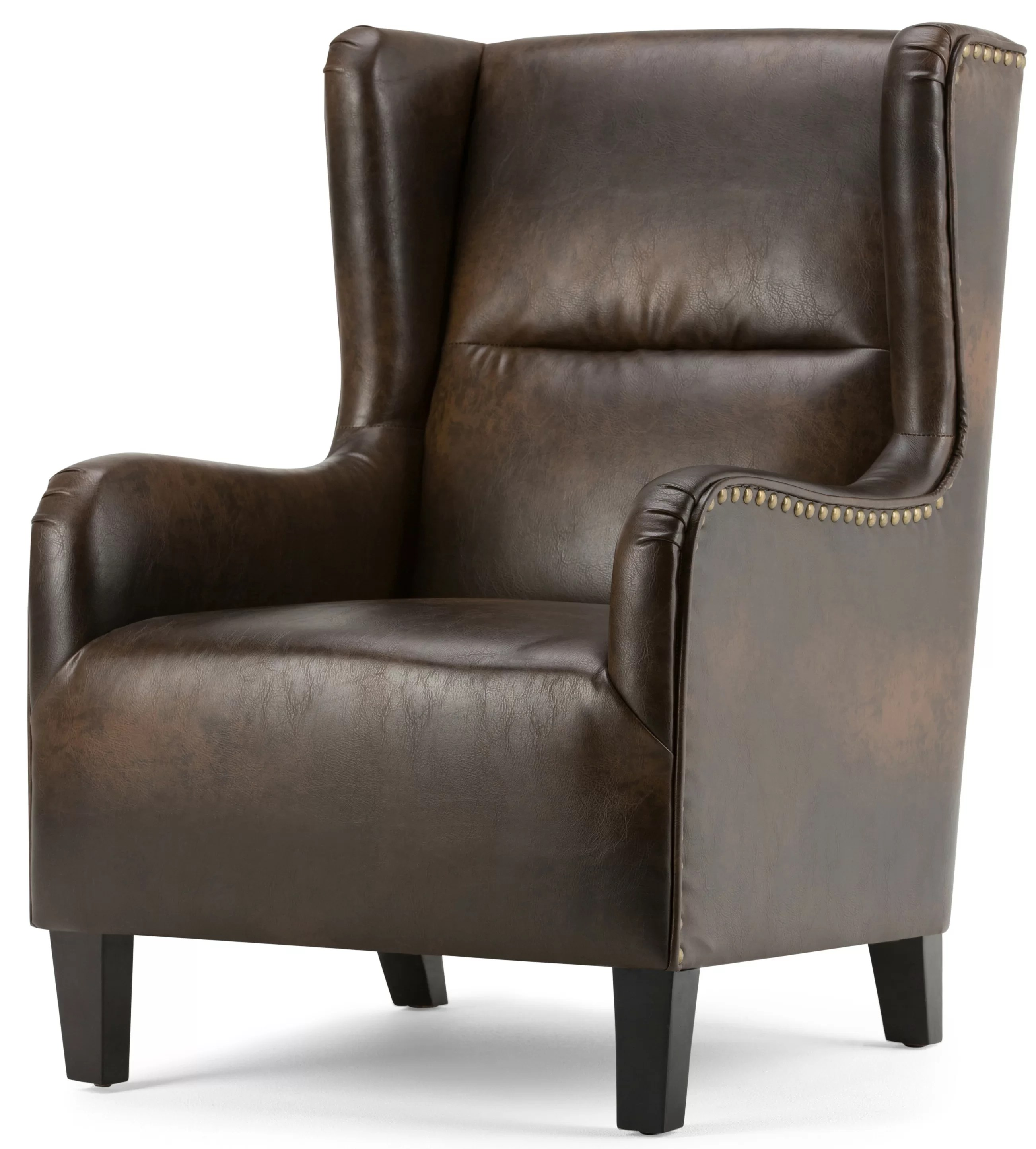 leather wingback chairs black plastic adirondack simpli home taylor chair reviews wayfair