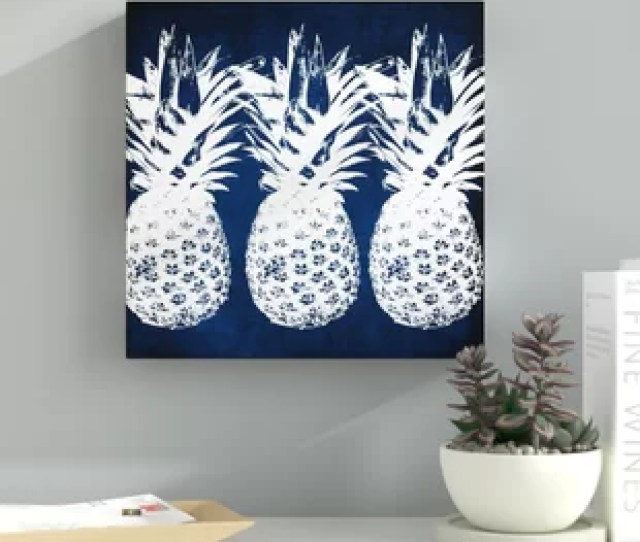 Indigo Pineapple Graphic Art On Wrapped Canvas