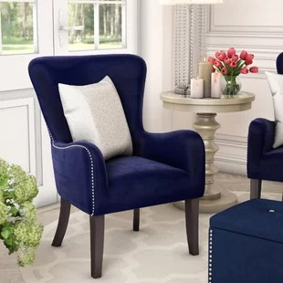 navy blue wingback chairs wedding chair covers for with arms accent you ll love wayfair quickview