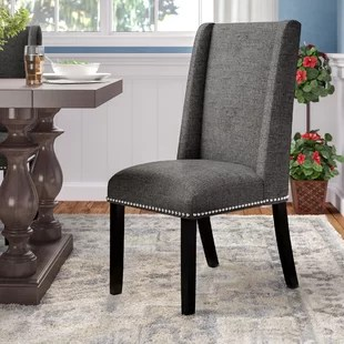 gray dining chair chairs cushion pads kitchen you ll love wayfair quickview azure