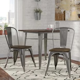 dining table with metal chairs zebra bean bag chair kitchen you ll love wayfair quickview antique gun