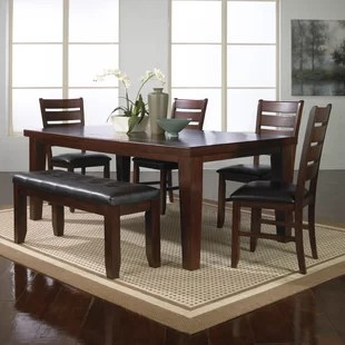 kitchen table with bench and chairs pink countertops dining room sets you ll love wayfair stephentown 6 piece extendable set