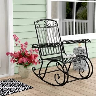 metal rocking chair runners slipcovers t cushion outdoor porch rocker wayfair snowberry iron