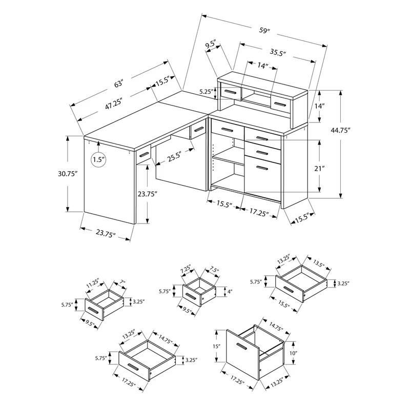 Latitude Run Milford L-Shaped Computer Desk with Hutch