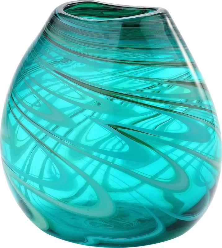 Mercury Row Turquoise Glass Table Vase Amp Reviews Wayfair