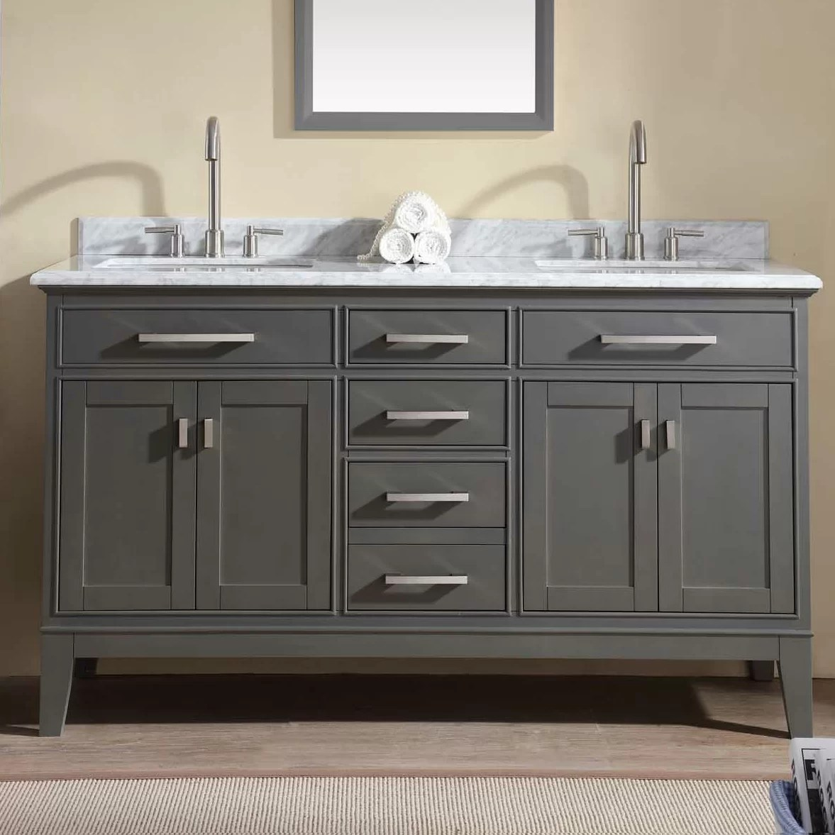 Ari Kitchen  Bath Danny 60 Double Bathroom Vanity Set