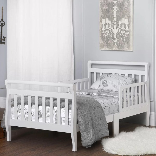 Dream Toddler Sleigh Bed With Safety Rails &