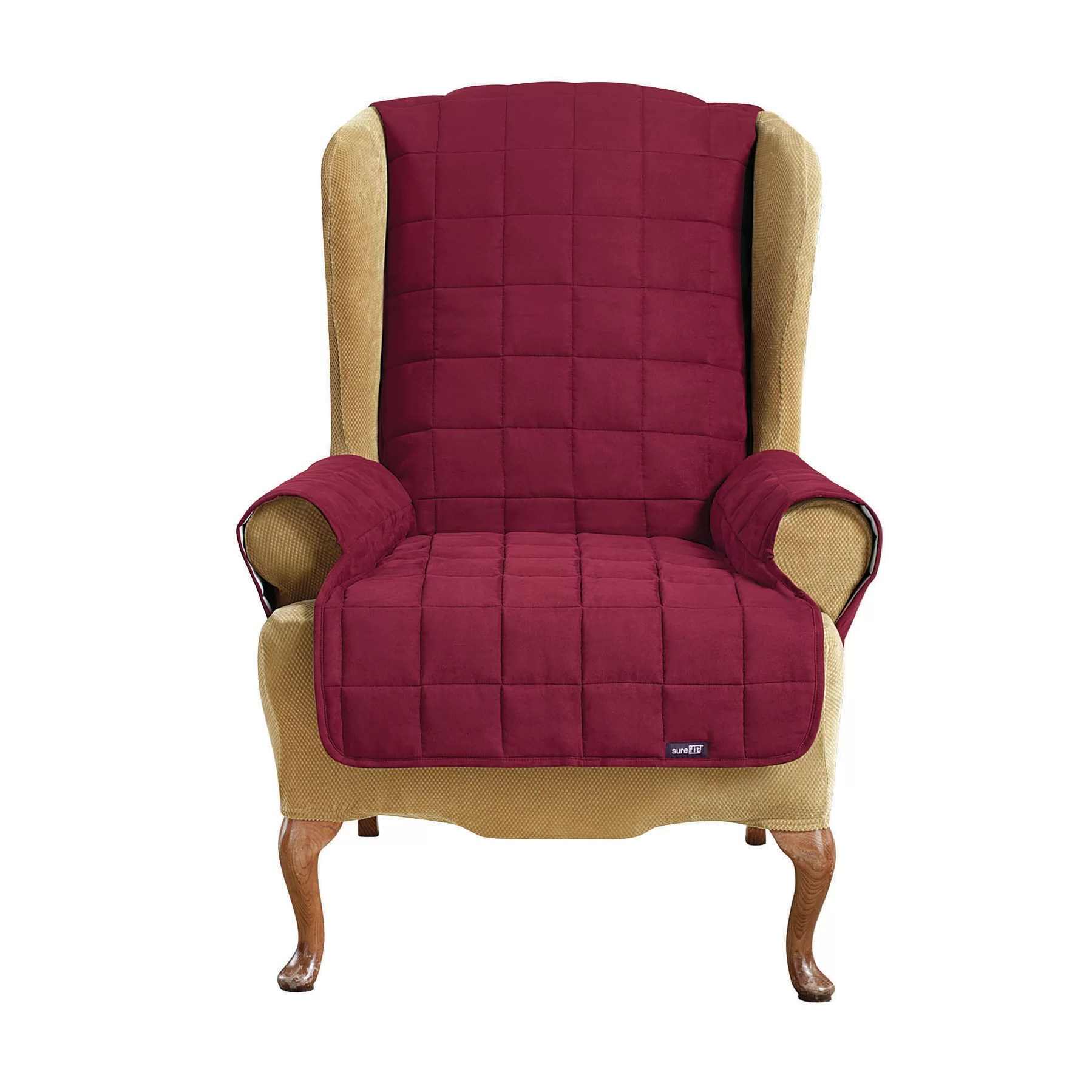 slipcovers for wingback chairs with t cushion barrel swivel casters sure fit soft suade wing chair slipcover