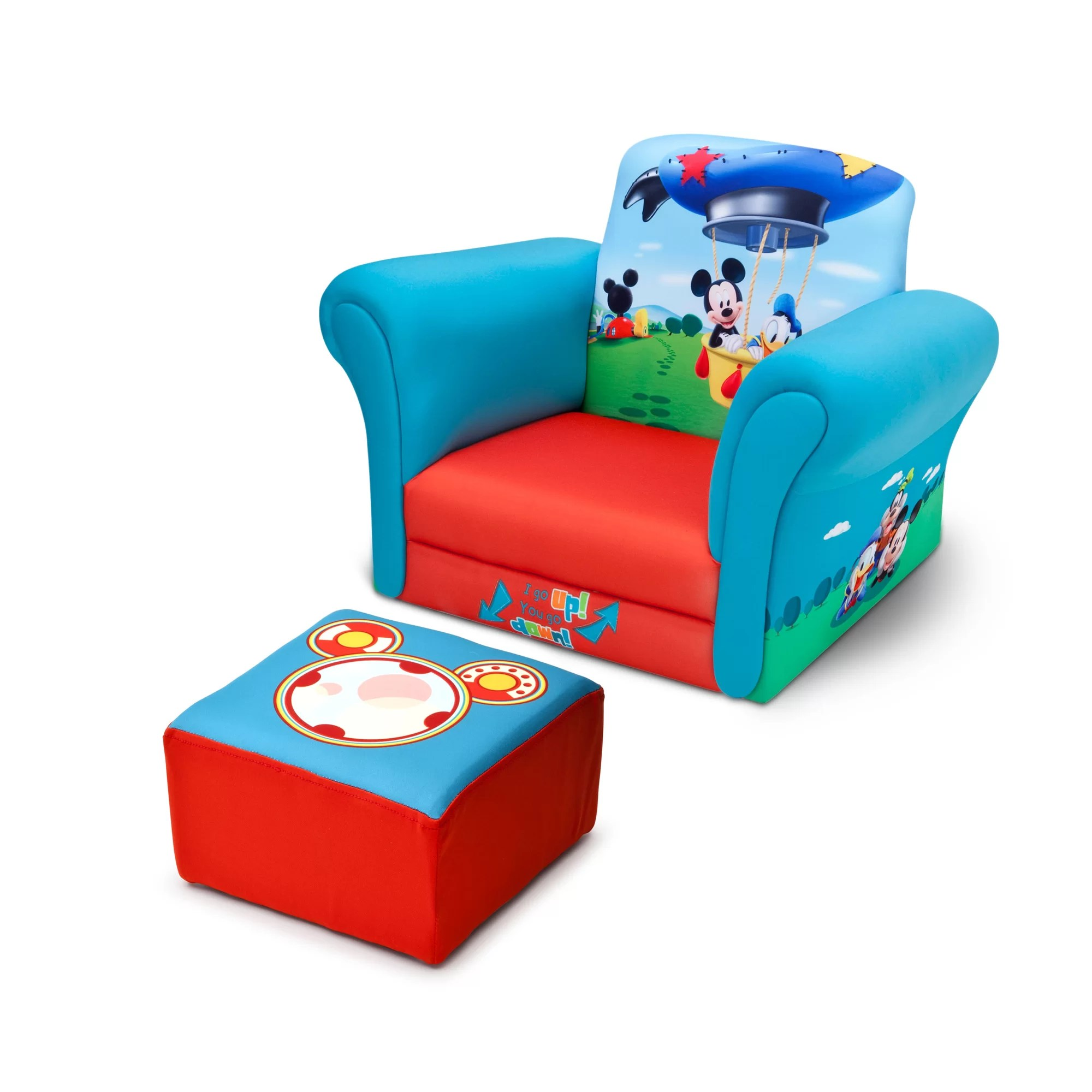 kids chair with ottoman teak shower delta children mickey mouse upholstered club